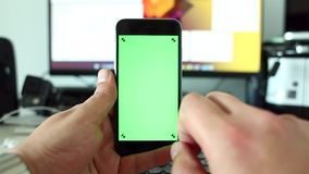 Switching between screens on smart phone stock video