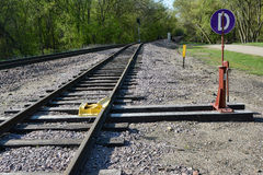 Switching Stop. A railroad switching stop in a section of track Stock Photo
