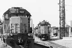 Switchyard in Kansas City in Zwart-wit stock afbeelding