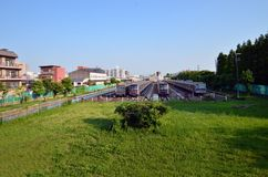 Switchyard of the summer subway in Japan. stock photos