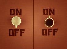 Swith encendido con café. Fotos de archivo