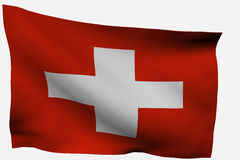Switzerland 3d flag. Isolated on white background Stock Photography