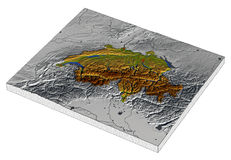 Switzerland, 3D relief map. 3D Relief Map of Switzerland, line of sight towards north-west Stock Photography