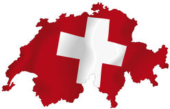 Switzerland. Vector illustration of a map and flag from Switzerland