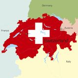 Switzerland. Abstract vector color map of Switzerland country coloured by national flag Stock Photos