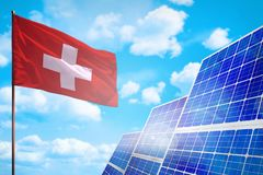 Switzerland alternative energy, solar energy concept with flag industrial illustration - symbol of fight with global warming, 3D stock image