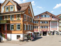 Switzerland, Appenzell. Appenzell, Switzerland - Juli 07, 2015: Appenzell town. Typical old houses and colorful wooden as usual royalty free stock photography