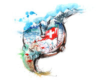 Switzerland. Architecture and nature in the form of hours Royalty Free Stock Photos