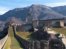Switzerland, Bellinzona castles Stock Images