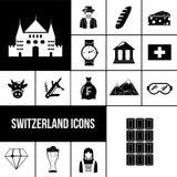 Switzerland black icons set. Switzerland symbols black icons set with chocolate watches beer  vector illustration Stock Images