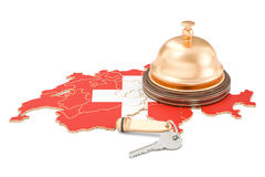Switzerland booking concept. Swiss flag with hotel key and recep Royalty Free Stock Images
