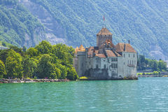Switzerland - Canton Vaud - Beautiful view of Chillon castle Royalty Free Stock Image