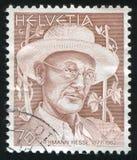 Hermann Hesse. SWITZERLAND - CIRCA 1978: stamp printed by Switzerland, shows Hermann Hesse, circa 1978 royalty free stock images