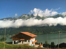 Switzerland in the Cloud. A view from Interlocken Switzerland of the mountains in the clouds Royalty Free Stock Images