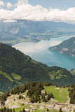 Switzerland Cog Railway with Alps and lake Thunersee Stock Photo