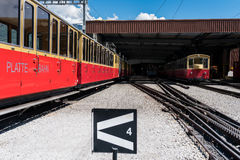 Switzerland Cog Railway trains in depo. Royalty Free Stock Image