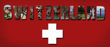 Switzerland collage on Swiss flag background Royalty Free Stock Images