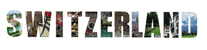 Switzerland collage on white Stock Photo