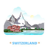 Switzerland country design template Flat cartoon s. Switzerland country magnet design template. Flat cartoon style historic sight showplace web site vector Stock Photo