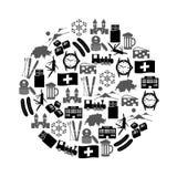 Switzerland country theme symbols icons in circle eps10 Stock Photos