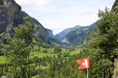 Switzerland countryside. View of Switzerland countryside near Trummelbach Falls at summer Stock Photo