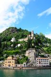 Switzerland: Cruise to Morcote at Lake Lugano in canton Ticino royalty free stock image