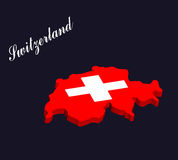 Switzerland 3d map vector with the swiss flag Royalty Free Stock Image