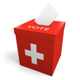 Switzerland election ballot box for collecting votes. Rendered in 3D on a white background Royalty Free Stock Photos