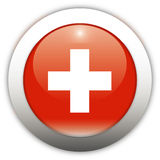 Switzerland Flag Aqua Button Stock Images