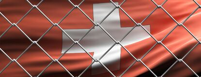 Switzerland flag behind steel mesh wire fence. Coronavirus pandemic quarantine, 3d illustration