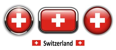 Switzerland  flag buttons Royalty Free Stock Images
