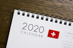 Switzerland Flag on 2020 Calendar royalty free stock image