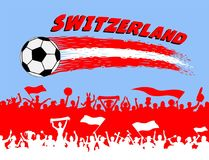 Switzerland flag colors with soccer ball and Swiss supporters si. Lhouettes. All the objects, brush strokes and silhouettes are in different layers and the text Stock Photos