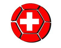 Switzerland flag on football ball, 2018 Championship, white back Royalty Free Stock Photography