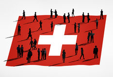 Switzerland Flag and a Group of Business People Stock Photo