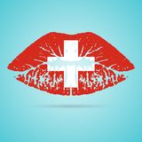 Switzerland Flag Lipstick On The Lips  On A White Background. Vector Illustration. Kiss Mark In Official Colors And Proportions. Independence Day Stock Photos