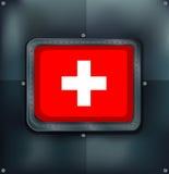 Switzerland flag on metalic background Stock Photos
