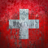 Switzerland Flag painted on a Wall. Ddistressed Painting of a Flag on an old Wall Stock Photos