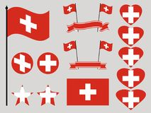 Switzerland flag set. Collection of symbols heart and circle. Vector Royalty Free Stock Images