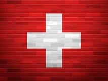 Brick wall Switzerland flag Royalty Free Stock Photos
