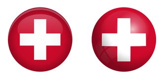 Switzerland flag under 3d dome button and on glossy sphere / ball.  vector illustration