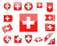 Switzerland Flag Vector Set Stock Photo