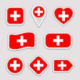Switzerland flag vector set. Swiss national flags stickers collection. Vector isolated geometric icons. Web, sports pages, patriot royalty free illustration