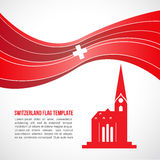 Switzerland flag wave and Fraumunster Cathedral vector Template Stock Images