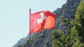 Switzerland Flag waving. Against sky stock footage