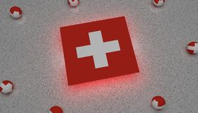 Switzerland Flag white red europe stock illustration