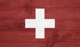 Switzerland flag on wood boards with nails Royalty Free Stock Photography