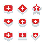 Switzerland flags icons and button set nine styles Stock Photo