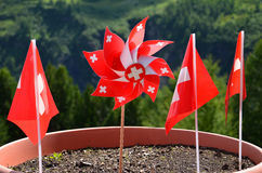 Switzerland flags. Photo shows four small flags of Swizterland. Flags takes main part of the picture, in the background we are forest Royalty Free Stock Photos