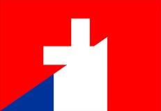 Switzerland france flag. Switzerland france neighbour countries half flag symbol Royalty Free Stock Photography
